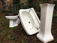 Vintage Shanks Toilet, Bathroom Sink & Pedestal