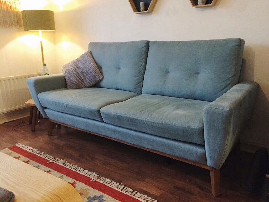 Beautiful Comfy Teal Blue Sofa. Great Condition