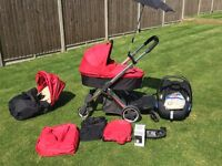 Oyster Pram Travel System red and black colour pack options