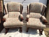 Upholstered rocking chairs.