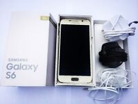 Samsung Galaxy S6 32gb Platinum Gold phone with box, chargers & accessories (EE)