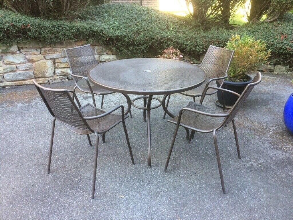 John Lewis Ala Bronze Mesh 4 Seat Round Table And 4 Chairs