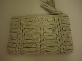 Anya Hindmarch white leather woven clutch - brand new