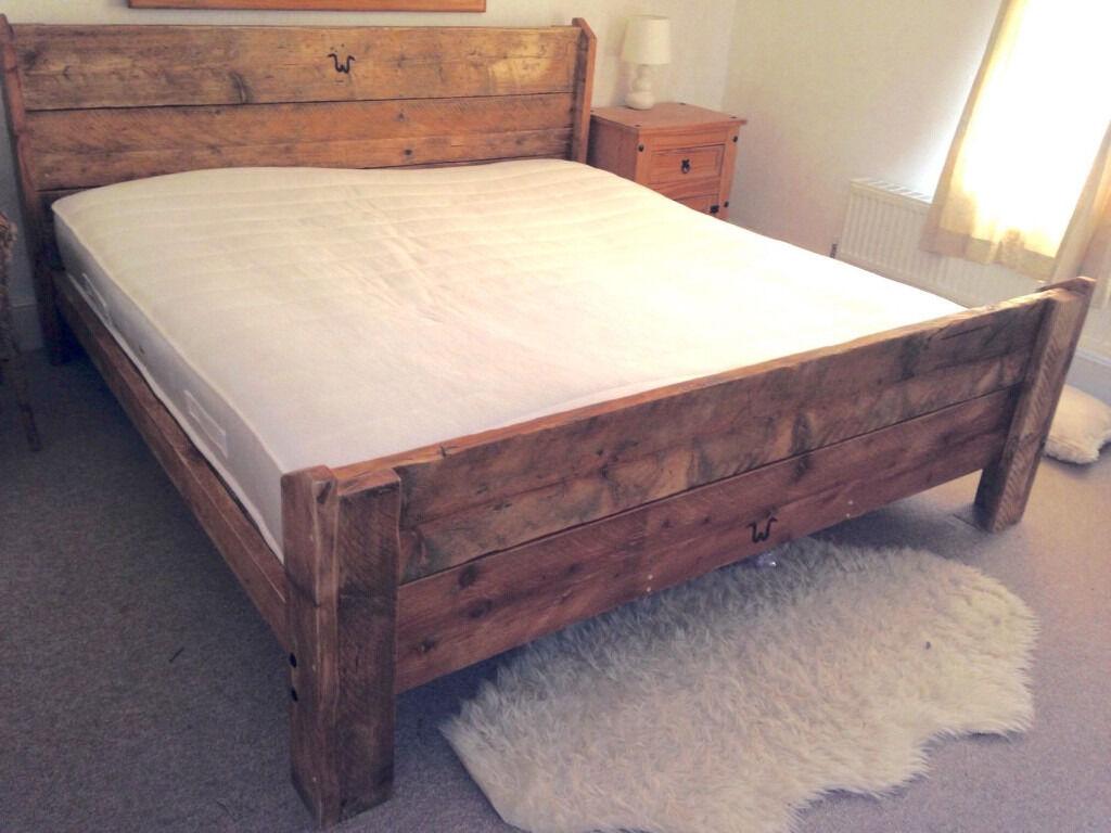 UK Double Handmade Bespoke Rustic 100% Reclaimed Solid Wooden Bed Frame Vinta