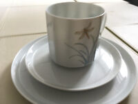 China teacup, saucer and plate x 4 sets
