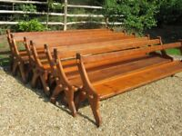 OLD PINE CHURCH PEWS. £85 each. Delivery possible.Also different pews, vintage chairs & monks bench.