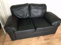 Settee Two Seater Black Leather £50
