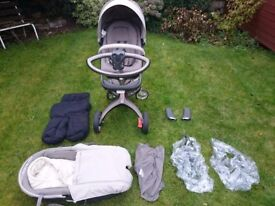 Pre-owned Stokke Xplory with accessories in beige colour