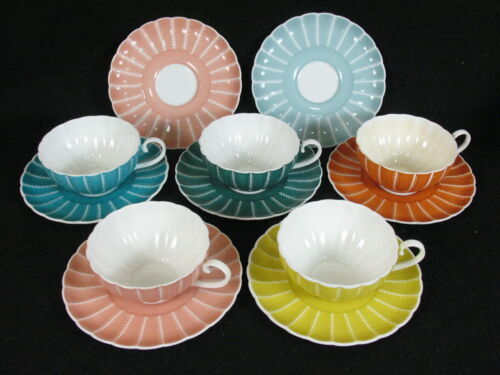 SUSIE COOPER Rare Vintage 5 Flat Tea Cups & 7 Saucers Multi colors