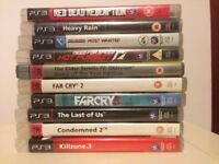 10 (TEN) Assorted PS3 games/all good condition