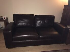Dark Brown leather sofa From Next.
