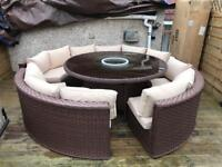 Yakoe 10-Seater Round Dining Set Rattan Garden Furniture Patio Conservatory Sofa Set - free delivery