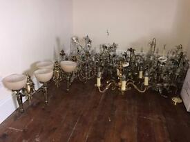 Selection of chandeliers and wall lights.