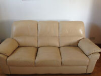 Cream Leather 3 Seater 2 Seater & Reclining Arm Chair