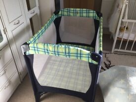 Baby's Travel Cot nearly new with extra mattress. Also Baby's High Chair, for free, if required