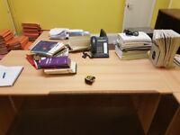 Corner desk with extension and pedestal #100, #101