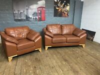 ARIGHI BIANCHI real leather 2 & 1 sofa set in excellent condition 199 free delivery