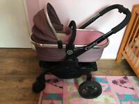 I candy peach hardly used -chassis, seat, carrycot, car seat, 2 bases