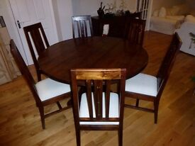 Lombok dark teak round dining table & 6 matching chairs