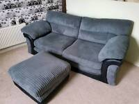 2 seater sofa + foot stool for sale