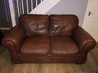 2 Brown expensive real leather 2 seater sofas FREE OF CHARGE, MUST BE COLLECTED BY THURS 8th DEC
