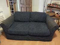 Blue cotton 2 seater sofa