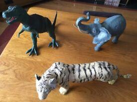3 Large Plastic Animals