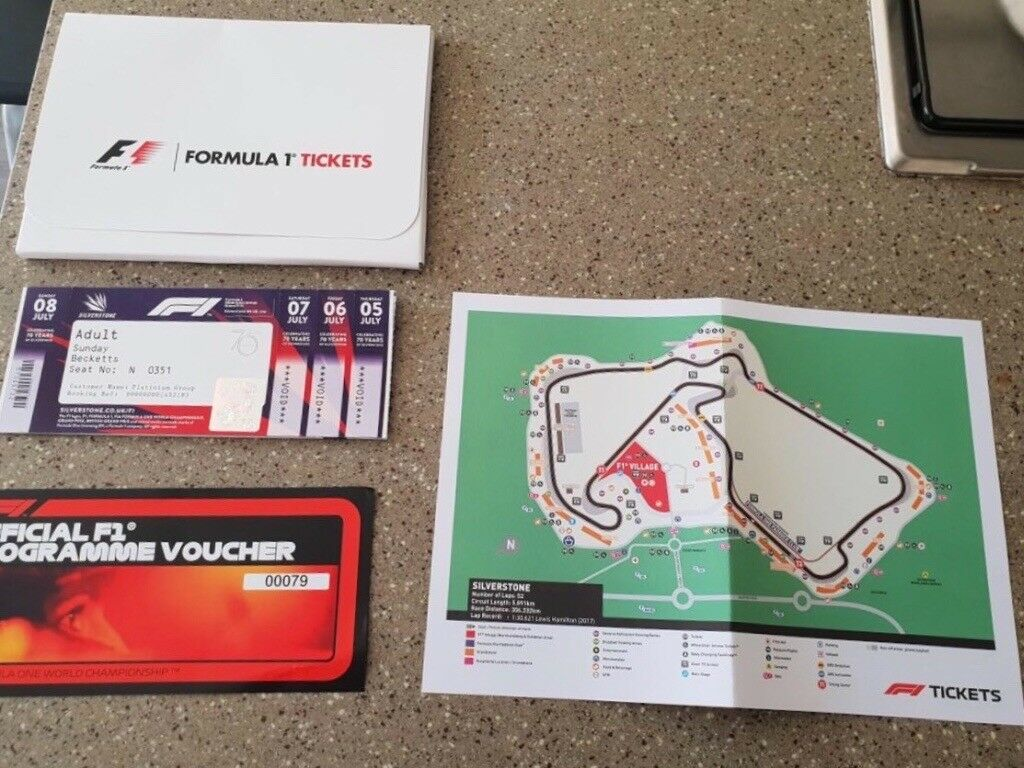 F1 Grand Prix Sunday Race Day Beckett corner beside each other tickets x 2 platinum RRP £800