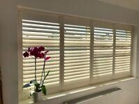 Plantation Shutters 243x117cm Cream 4 panels for Bedroom Living Dinner