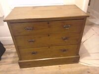 Solid old satin pine chest of drawers