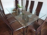 Glass Dining Table and 8 Brown High Back Faux Leather Dining Chairs