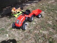 Tractor with trailer and tigger ride on