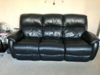 3 piece black leather recline sofa suite