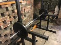 Cast iron weights and bar