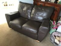 Small leather 2 seater sofa