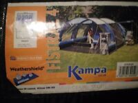 Kampa Fistral 4 tent, four person. Inner compartment, footprint groundsheet, complete, little used.