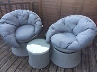 Grey whicker effect furniture