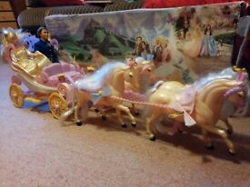 Barbie Princess & Pauper Carriage with Horses and assorted Barbie and other dolls