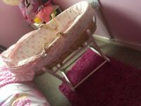 Mothercare Pink Moses basket with stand