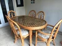 Glass & Cane Dining Table with 6 chairs