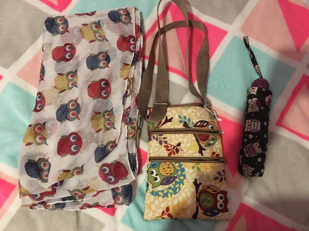 Owl Scarf, bag and umbrella