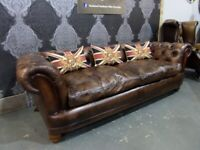 Stunning Tetrad Chatsworth Chesterfield 4 Seater Sofa in Tan Leather - UK Delivery