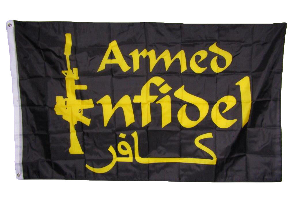 3x5 Armed Infidel m4 Rifle Black and Gold Flag 3'x5' House B