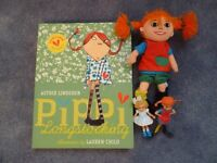 Pippi Longstocking book, soft toy and action figures