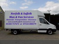 NORFOLK SUFFOLK MAN AND VAN (S) REMOVALS TRANSPORTATION BECCLES HALESWORTH YARMOUTH LOWESTOFT BUNGAY