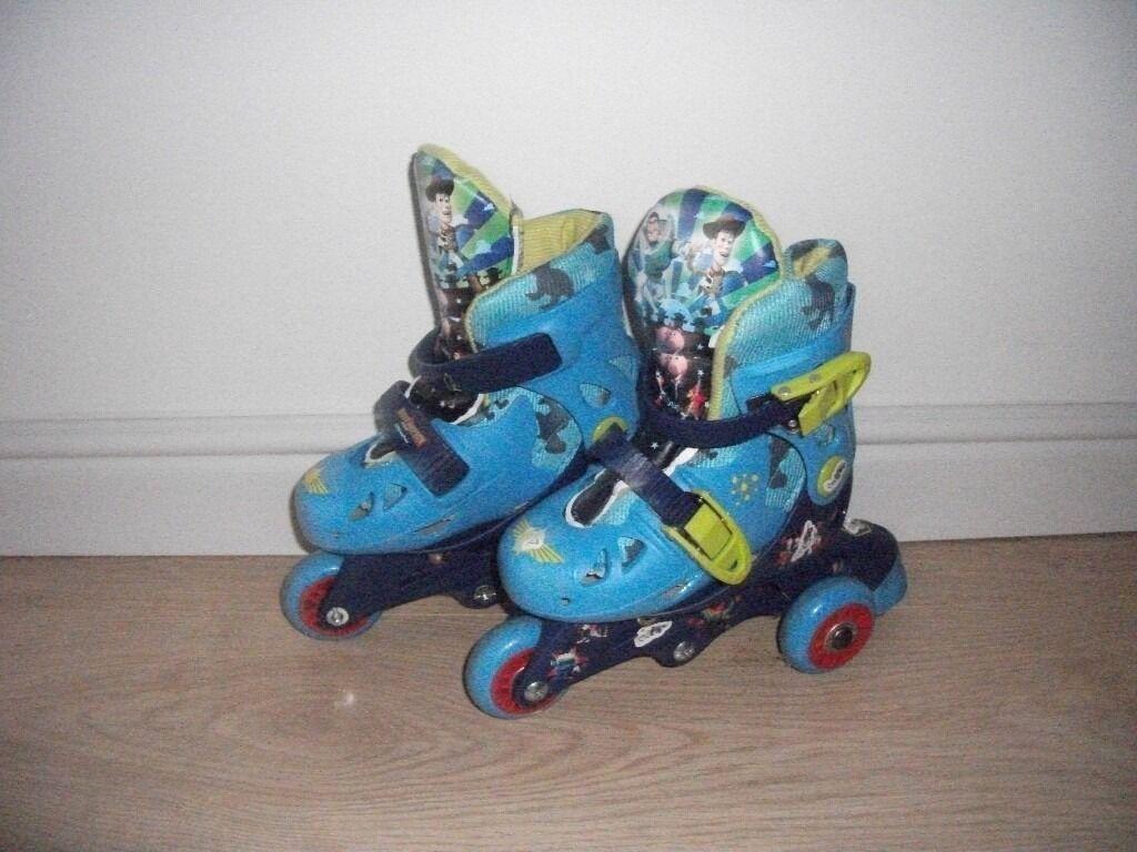 DISNEY TOY STORY BLUE ROLLER SKATES SIZE 8 INFANT *CHRISTMAS PRESENT *