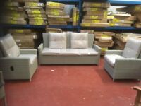 3 SEATER RATTAN RECLINER SOFA AND 2 RECLINING CHAIRS