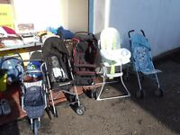 Various Prams/Strollers/High Chairs
