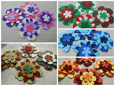 FELT x16 die cut FLOWERS Layering Appliqué Craft DIY brooches Christmas - Felt Flowers Diy