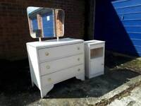 White wooden bedroom drawers with mirror and matching bedside cabinet, delivery available